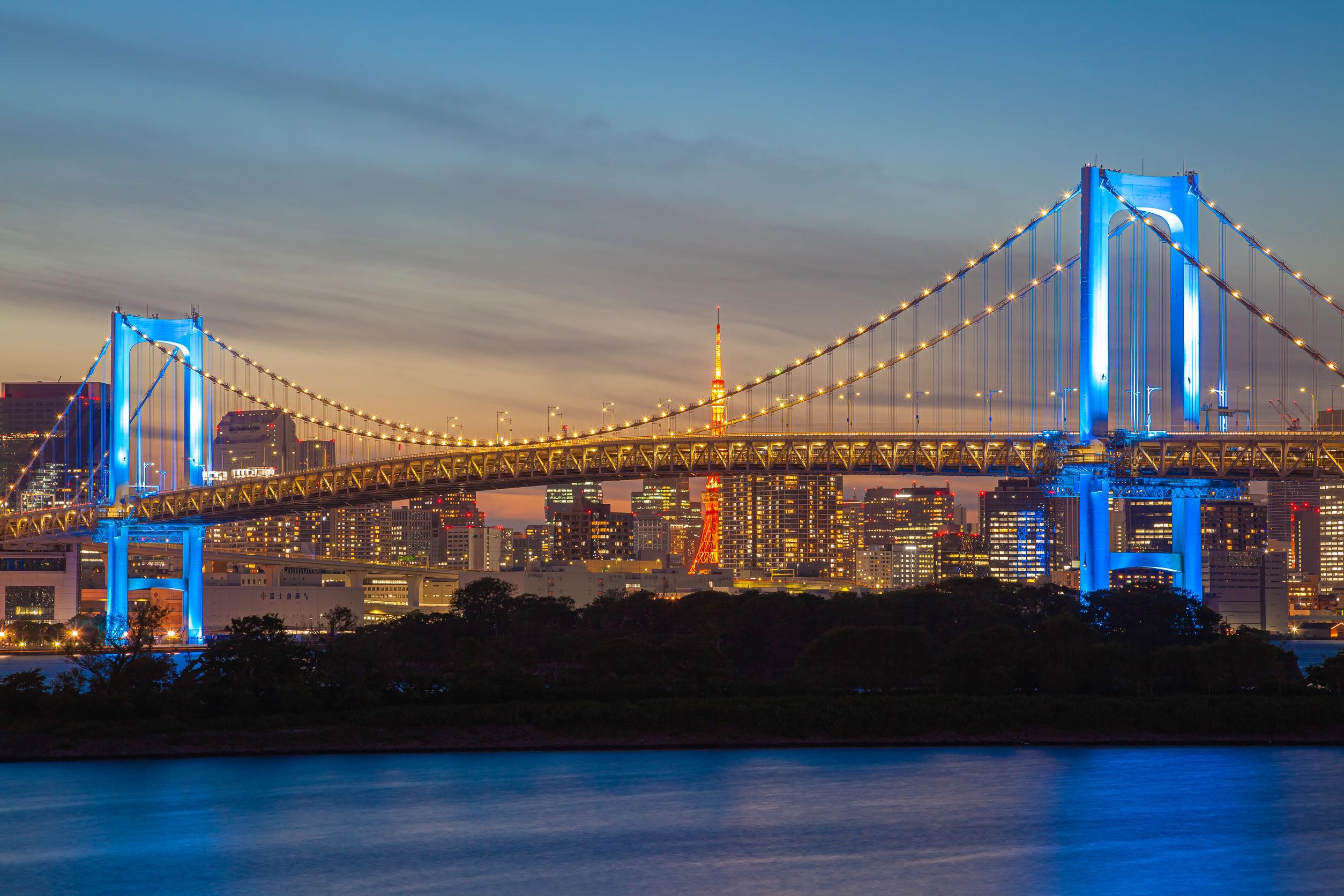 Rainbow bridge indicating the status of Covit-19 situation in Tokyo